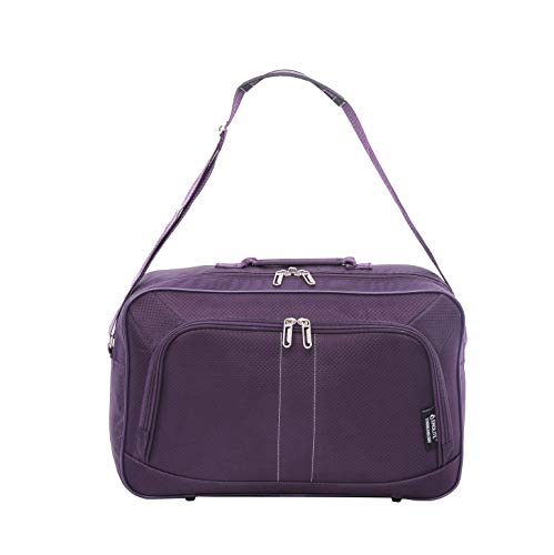 16-inch Aerolite Carry On Hand Luggage Flight Duffle Bag, 2nd Bag or Underseat, 19L (Plum)