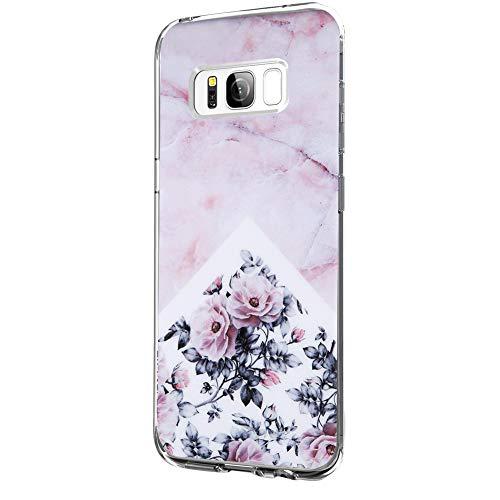 Riyeri Hülle Compatible with Samsung Galaxy S8 PlusHülle Klar Slim TPU Silikon Bumper Handyhülle für Samsung S8 Plus - Marmor & Blume (Samsung S8 Plus, 4)