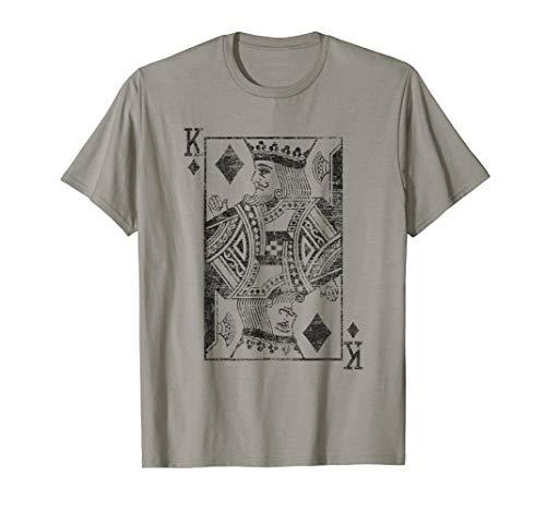 König der Diamanten Spielkarte Kostüm Poker Distressed T-Shirt
