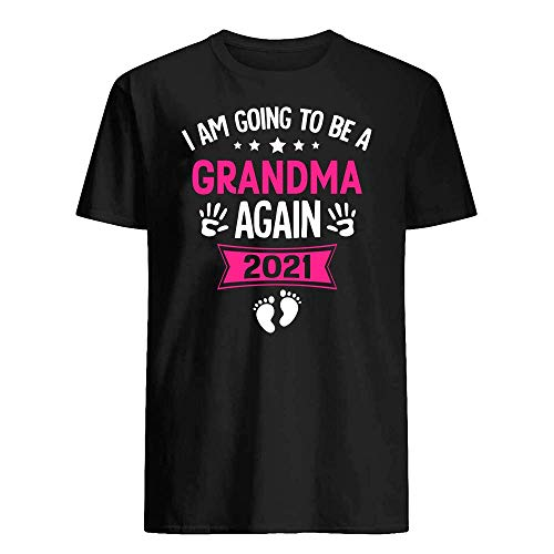 I Am Going to Be A Grandma Again 2021 Baby Announcement T-Shirt Graphic Novelty Cotton Tee Short Sleeve for Unisex