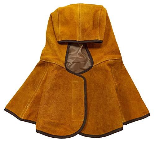 ELCAN Capucha ignífuga soldador de cuero para colocar debajo de careta soldadura para evitar quemaduras, gorro de soldador con protección para el cuello