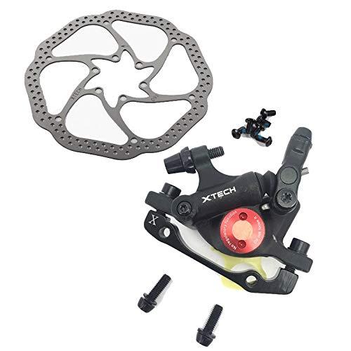 Zoom HB-100 VTT Frein HB100 Freins De Vélo Étrier W Rotors Pièces De Vélo Piston Hydraulique Bidirectionnel W V-Brake Levier (Color : Pair Black w Rotor)