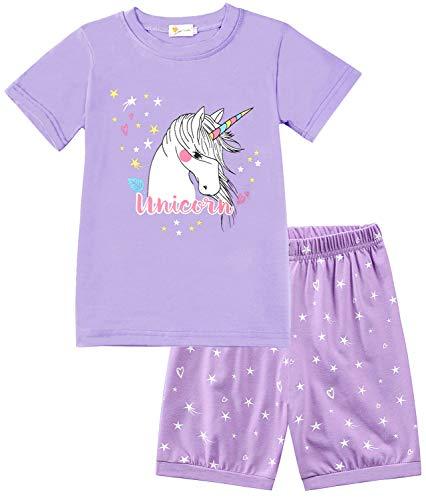 Little Hand Mädchen Schlafanzug Kurz Girls Pyjamas Shorts Einhorn Kinder Sommer Schlafanzug Sets 122 Lila