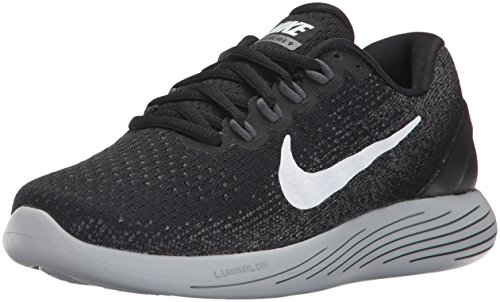 Nike Lunarglide 9, Zapatillas de Correr Mujer, Multicolor (Black/White/Dark Grey/Wolf Grey 001), 36.5 EU