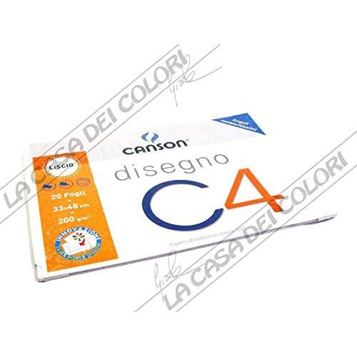 Canson - Album a 4 Angoli, Disegno C4, Liscio, 20 Fogli, 200 G/Mq, 33x48 cm
