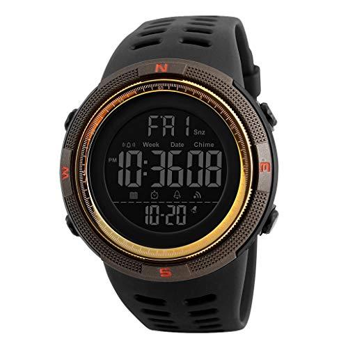 TISHITA Reloj Digital Deportivo al Aire Libre para Hombre Impermeable con cronómetro Alarma EL Calendario de retroiluminación Semana - Café Dorado