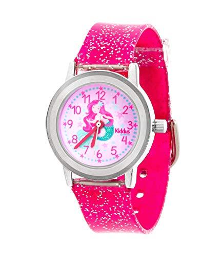 KIDDUS Reloj de Pulsera analógico para niña, Chica. con Ejercicios educativos para Aprender la Hora. Mecanismo de Cuarzo japonés Purpurina, Elegante y a la Moda (Sirena)