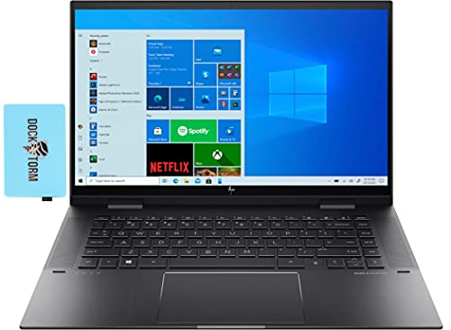 Newest HP Envy x360 15 Home & Entertainment Laptop 2-in-1 (AMD Ryzen 7 5700U 8-Core, 16GB RAM, 512GB PCIe SSD, AMD Radeon, 15.6' Touch Full HD (1920x1080), Active Pen, WiFi, Win 10 Home) with Hub