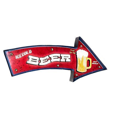 DiiliHiiri Cartel Retro Luminoso Cerveza Bar Vintage Letrero Metálico Artesania Accesorios Decoración Hogar (Beer Rojo)