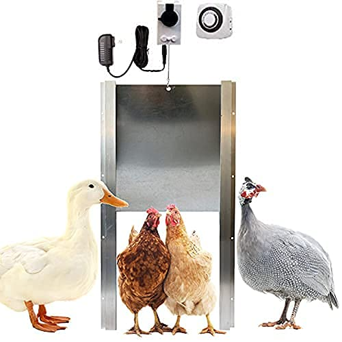Automatic Chicken Coop Door Opener with Motor & Timer (1 Year Warranty) | Heavy Duty | Made USA | Auto Pop Door Opener | Chicken Coop Accessories | Metal