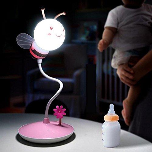 XIAOJIA Lampe de bureau Lampe de table créative d'abeille, lumière régulière de trois quarts, lumière d'apprentissage de bureau d'étudiant-protection, lampe de table 3D, B