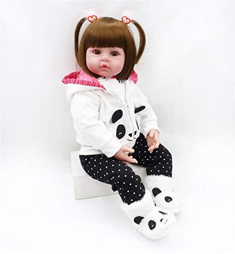 Binxing Toys 24 Pulgadas muñeca Realista Silicona Bebes Reborn Recien Nacidos vistiendo Ropa de Panda