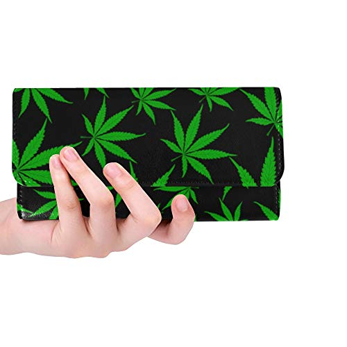 RFID Blocking Purse Hombres Cartera con Tarjetero Cannabis Marijuana Leaves Carteras Clutch...