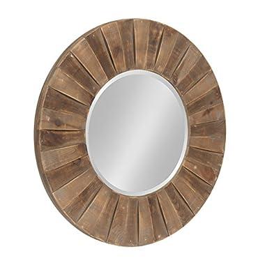 Kate and Laurel Monteiro Round Decorative Sunburst Natural Wood Frame Wall Mirror, 30 Inch Diameter