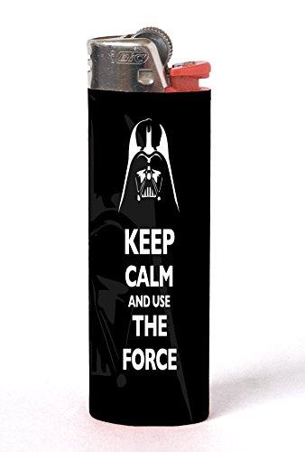 Keep Calm and Use The Force Quote Darth Vader Design Print Image 2 Pack Vinyl Decal Wrap Skin Stickers by Trendy Accessories for Bic Lighters