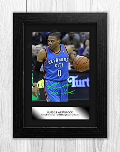 Bueno con madera Yorkshire Russell Westbrook NBA Oklahoma City Thunder Reproducción Autograph Poster Foto A4 Impresión (marco negro)