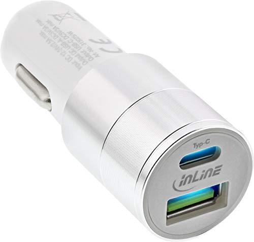 InLine 31502W USB KFZ Stromadapter Quick Charge 3.0, 12/24VDC zu 5V DC/3A, USB-A + USB Typ-C, weiß