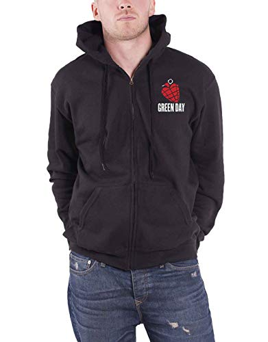 Green Day Hoodie American Idiot Band Logo Official Mens Black Zipped Size M
