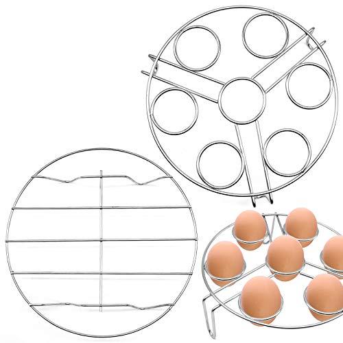 JJQHYC 2 Stück Dampfgarer Einsatz Edelstahl Einlegerost Küche Rund Kochständer Abkühlgitter Dämpfeinsatz für Töpfe