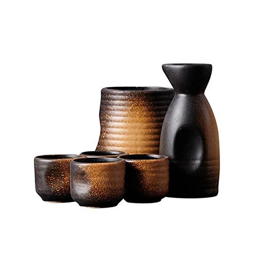 MDFQL Set de Saki de cerámica Japonesa Tradicional, Conjuntos de Copa de 6 Piezas, con Frasco de Cadera, jarras de Vino cálido, Copa de Vino, para Bar, Sala de Estar, Comedor o Cocina,D