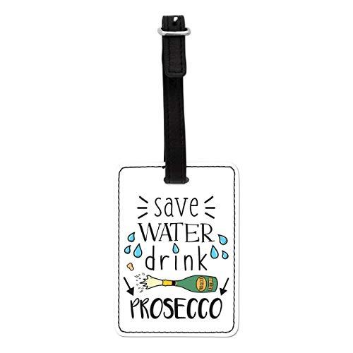Gift Base Save Beber Agua Prosecco Visual Equipaje Etiqueta con Correa Negra