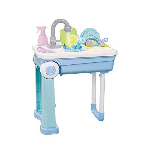 FXQIN Kinder Spülbecken Spielzeug, Küchengeschirr Küchenspielzeug, Geschirrspüler Schneidespielzeug mit echten Arbeits Wasserhahn & Drain, ideal für Kinder