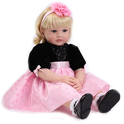 ZIYIUI 24''/60cm Poupée Reborn Bébé Silicone Souple Reborn Toddler Babeis Fait Main Réaliste Magnetic Pacifier Bebe Reborn Fille Nouveau-Né Cadeau d'anniversaire Jouets