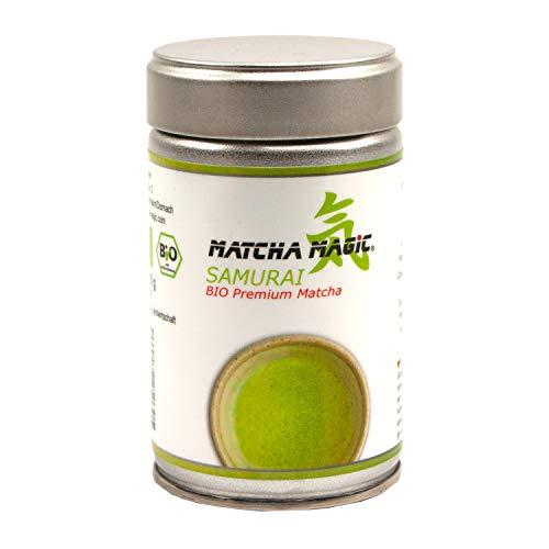 MatchaMagic Samurai Bio Matcha-Tee Pulver   Original Grüntee aus Japan   100{853af193ffdb78781ec8f084e8e468fb92fdd88137f55983ed1cd12ddf622749} Bio   Japanisches Premium Bio Matcha-Pulver für Matcha Tee, Matcha-Latte, Matcha-Smoothie und Co.   1x 80g