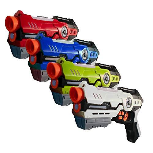 Laser Tag Game Set mit 4 Laserpistolen - Spiel für Kinder ab 8 Jahren l Lenbensanzeige mit Battle Modus und bis zu 20m Reichweite (Rot/Blau/Grün/Weiß) (4er Set / rot-blau-grün-weiß)