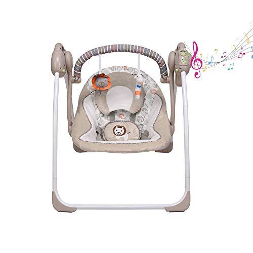 Khaki elektrische Babyschaukel, Neugeborenen-Kindersitz, Neue Babywiege, 6 Schwunggeschwindigkeiten, 16 Melodien und EIN Moskitonetz