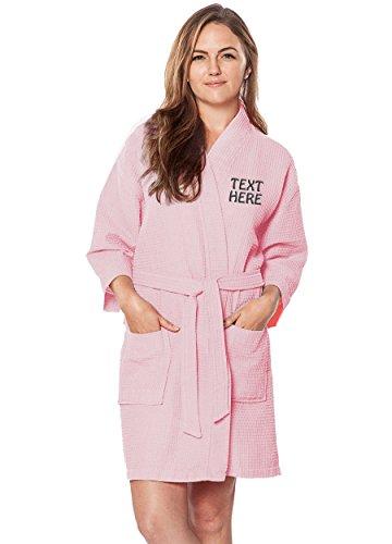 Personalized Embroidered Robes – Custom Waffle Kimono Robe – Monogrammed Bathrobes