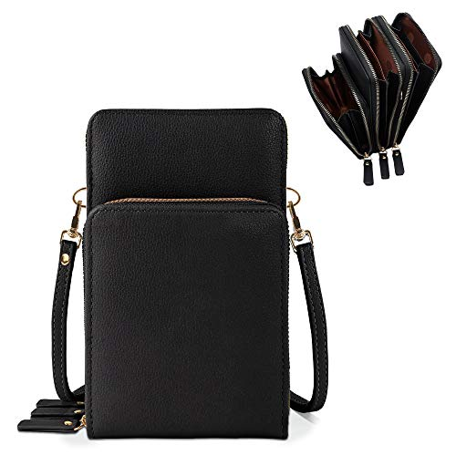 DELUXITY Lightweight Leather Phone Purse, Small Crossbody Bag Mini Cell Phone Pouch Shoulder Bag with 3 Compartment for Women - BK
