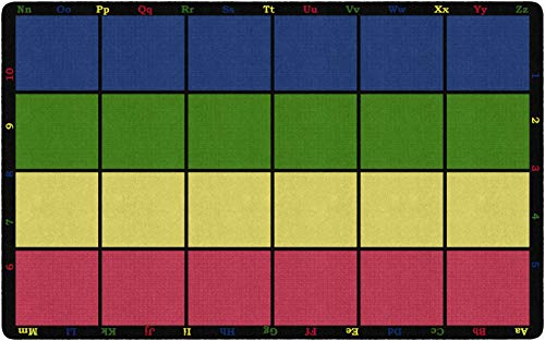 "Flagship Carpets FE126-44A Learning Grid Seating Carpet, Colorful Letters and Numbers Border This Rug, Kids School, 7'6"" x 12' Seats 24, 90"" Length, 144"" Width, Blue/Green/Yellow/Red"