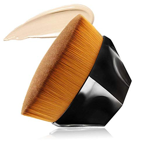 Foundation Makeup Brush Flat Top Kabuki Hexagon Face Blush Liquid Powder Foundation Brush for Blending Liquid, Cream or Flawless Powder Cosmetics with Bonus Protective Case (Black) …