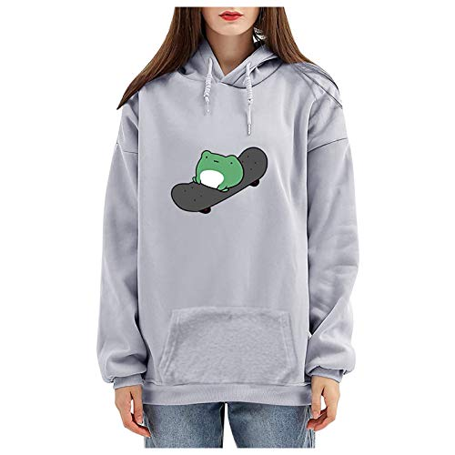 LRWEY Damen Sweatshirt der Frauen Skateboard-Druck Langarm Hoodie Pullover Bluse