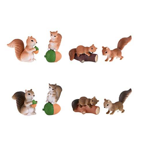 Cabilock Mini ardilla figura de animales en miniatura para jardín, ornamentos de hada, figuras de jardín, decoración para casa de muñecas, bonsáis, decoración, escenas de paisaje, 8 unidades