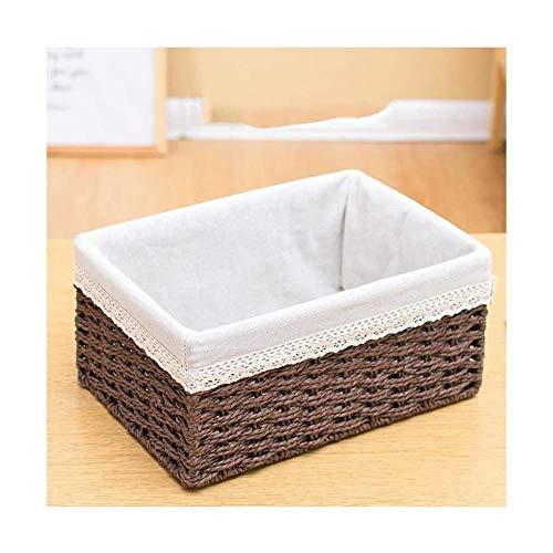 Storage Basket Caja de almacenamiento de tela de popa tejida para escritorio o aperitivos, hecha a mano, para jardín de infancia (color: B, tamaño: 19,5 x 12,5 x 8,5 cm)