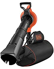 Black+Decker Elektro Laubsauger/-bläser mit Häcksler (72l Fangsack-Rucksack, Laubrechen und Tragegurt – Hohe Blasgeschwindigkeit und Saugleistung – 3000W) GW3031BP