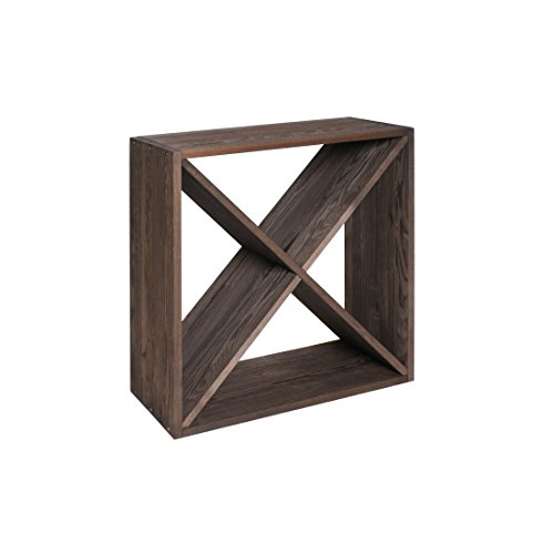 Weinregal/Flaschenregal System Modul X-Cube für 28 Flaschen, Holz Kiefer, dunkelbraun, stapelbar/erweiterbar - H 52 x B 52 x T 25 cm
