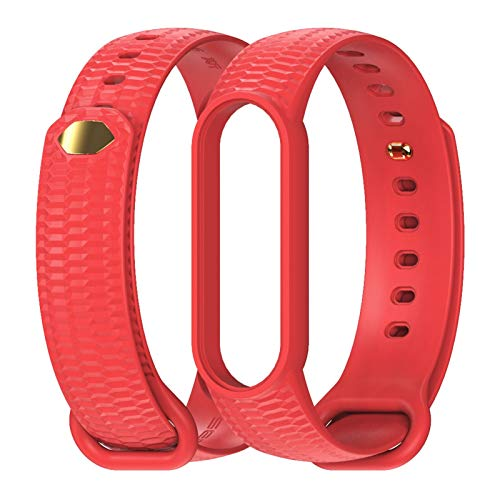 WZRY for Mi Band 5 4 3 Strap Bracelet Silicone Translucent Wristband #101697 (Color : Red, Size : for Mi Band 5)