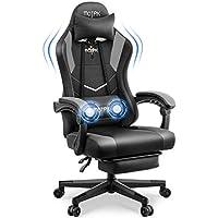 Motpk Ergonomic Gaming Chair with Footrest (Black)