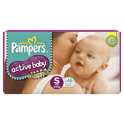 Pampers Active Baby Taped Diapers, Small size diapers, (SM) 46 count, Taped style custom fit