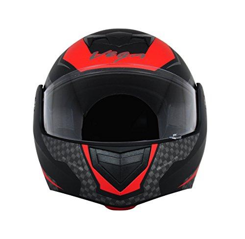 Vega Crux DX Full Face Helmet (Checks Dull Black and Red, L)