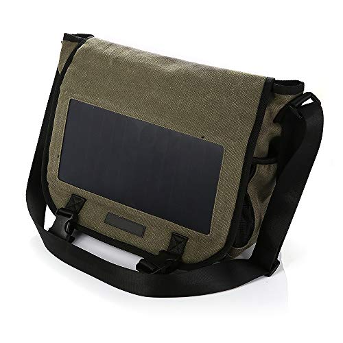 KEYBAO 6.5W Solar Chargeable Messenger Bag mit 10000mAh Power Bank, Casual Canvas Crossbody Schulter Rucksack,Braun