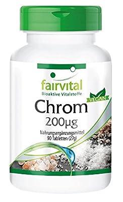 fairvital - Chromium 200µg, trace element, vegan, yeast-free, 90 chromium tablets by fairvital