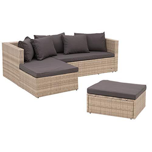 OUTLIV. Basel kompakte Lounge Beige-Grau/Dunkel-Grau Balkonlounge 2-3 Sitzer Gartenlounge platzsparend Variante 2