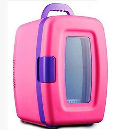 Mini Nevera 10 L Mini Frigorífico Portátil, 12 V/220 V Para Coche y Casa, 2 En 1 Termoeléctrica Nevera Con Función De Frío Y Calor, Manija Incluye Estantes Extraíbles-Rosa
