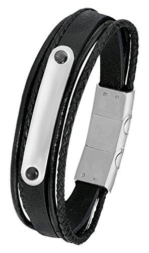 s.Oliver Herren-Armband 20+1,5 cm geflochten Edelstahl Leder 21.5 cm 2015063