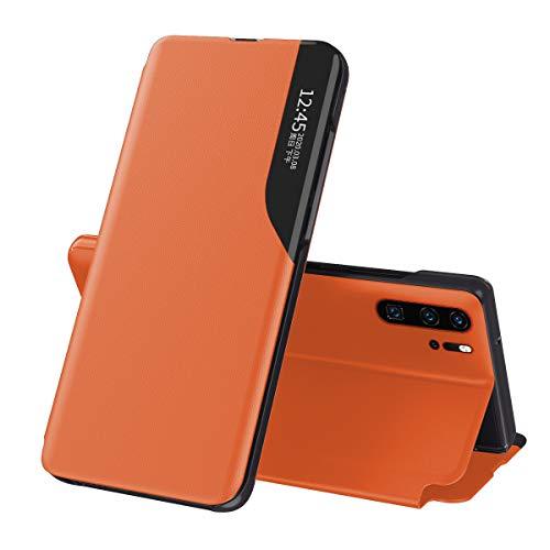 Suhctup Compatible con Samsung Galaxy A10 Funda Smart View Flip Carcasa de Cuero PU+PC Ultrafina de Piel con Función de Soporte y Cierre Magnetico Caso Protección de 360° Case-Naranja