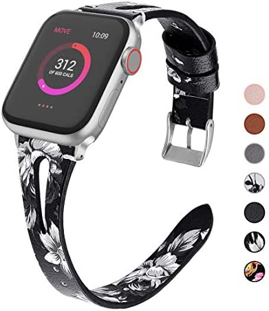 OULUOQI Compatible with Apple Watch Band 38mm 40mm 42mm 44mm Women 2019 Slim Soft Leather Band product image